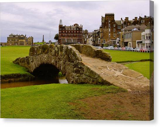 Pga Canvas Print - St. Andrews Links Golf Course Swilcan Bridge 18th Hole by Rich Image