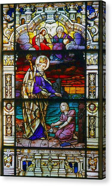 Confession Canvas Print - St Augustine By The Sea Shore Talking To A Child by Christine Till