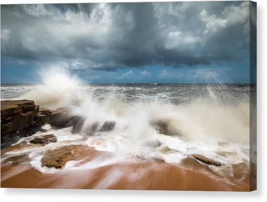 Flagler Beach Canvas Print - St. Augustine Fl Beach Seascape Crashing Waves by Dave Allen