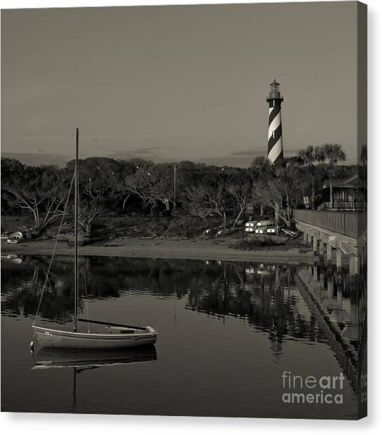 St. Augustine Lighthouse Beach Early Morning Monochrome Canvas Print