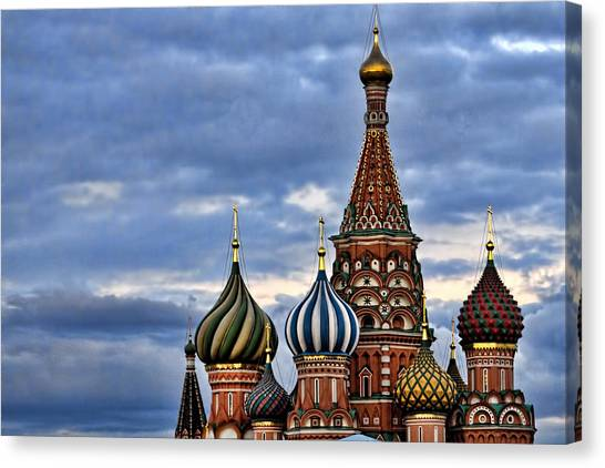 St John The Russian Canvas Print - St Basils Cathedral - Moscow Russia by Jon Berghoff