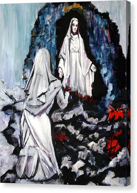 St. Bernadette At The Grotto Canvas Print