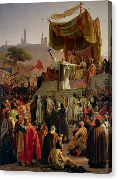St. Bernard Canvas Print - St Bernard Preaching The Second Crusade In Vezelay by Emile Signol