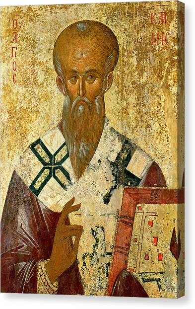 Byzantine Art Canvas Print - St. Clement by Byzantine School