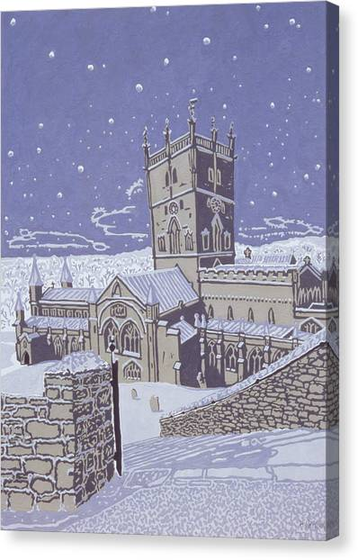 Church Yard Canvas Print - St David S Cathedral In The Snow by Huw S Parsons