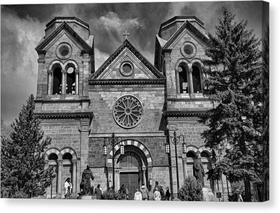 St. Francis Cathedral Basilica Study 5 Bw Canvas Print