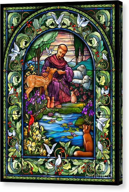Lily Pond Canvas Print - St. Francis Of Assisi by Randy Wollenmann
