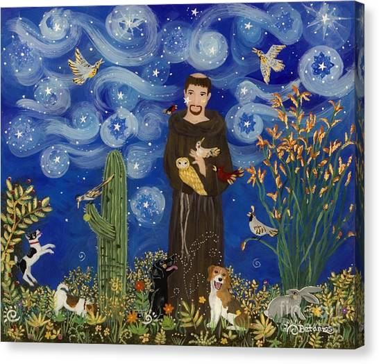 Woodpecker Canvas Print - St. Francis Starry Night by Sue Betanzos