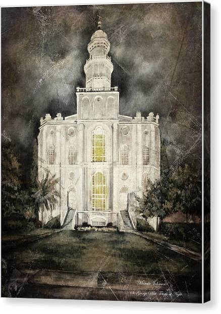 St. George Utah Temple At Night Canvas Print