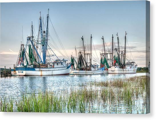 Shrimp Boats Canvas Print - St. Helena Island Shrimp Boats by Scott Hansen