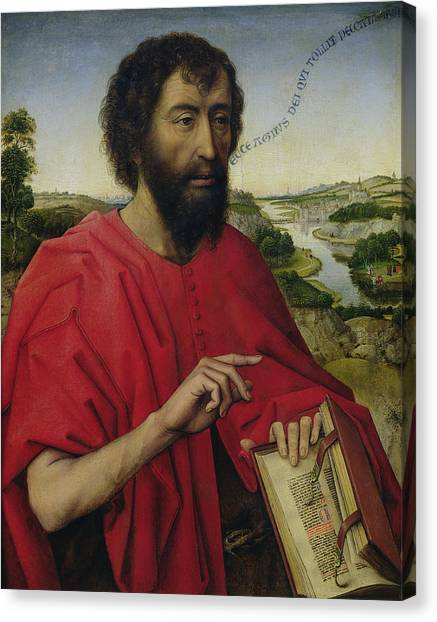 River Jordan Canvas Print - St John The Baptist, Left Hand Panel Of The Triptych Of The Braque Family by Rogier van der Weyden
