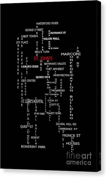 Crossword puzzle canvas prints fine art america crossword puzzle canvas print st johns newfoundland landmarks and streets by barbara griffin ccuart Gallery