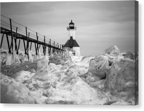 St. Joseph Lighthouse In Ice Field Canvas Print
