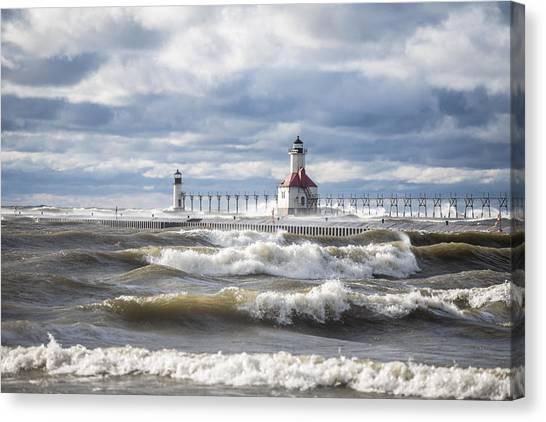 St Joseph Lighthouse On Windy Day Canvas Print