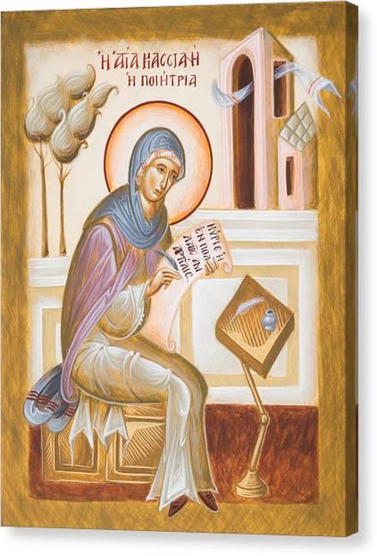 Canvas Print - St Kassiani The Hymnographer by Julia Bridget Hayes