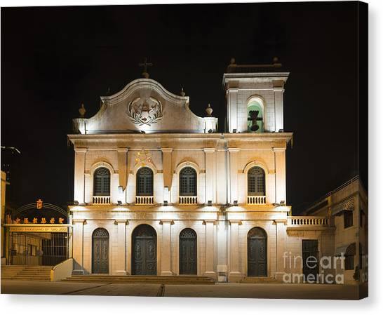 St Lazarus Canvas Print - St Lazarus Church In Macau China by Jacek Malipan