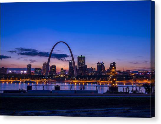 St. Louis Blues Canvas Print - St. Louis Missouri Night Skyline Blue Hour by David Haskett II