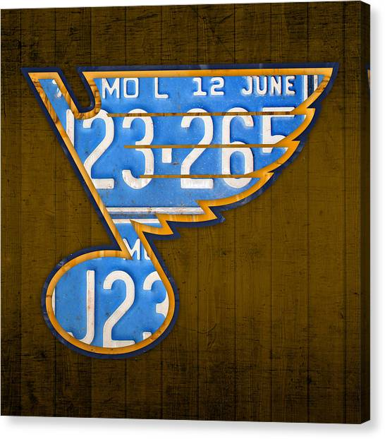St. Louis Blues Canvas Print - St Louis Blues Hockey Team Retro Logo Vintage Recycled Missouri License Plate Art by Design Turnpike