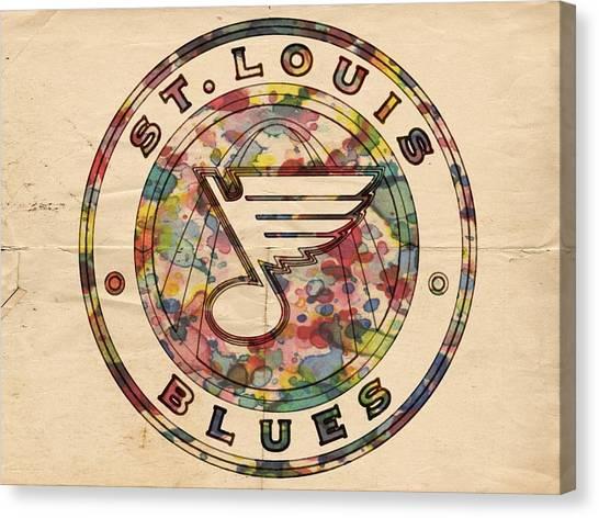 St. Louis Blues Canvas Print - St Louis Blues Vintage Poster by Florian Rodarte