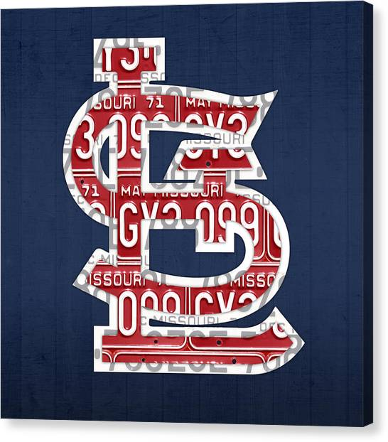 Cardinals Canvas Print - St. Louis Cardinals Baseball Vintage Logo License Plate Art by Design Turnpike