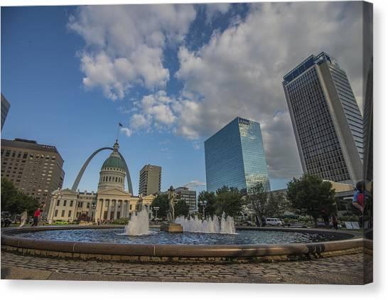 St. Louis Blues Canvas Print - St. Louis Missuri Gateway Arch by David Haskett II