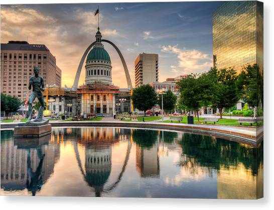 Jefferson Memorial Canvas Print - St. Louis Skyline Morning Reflections by Gregory Ballos
