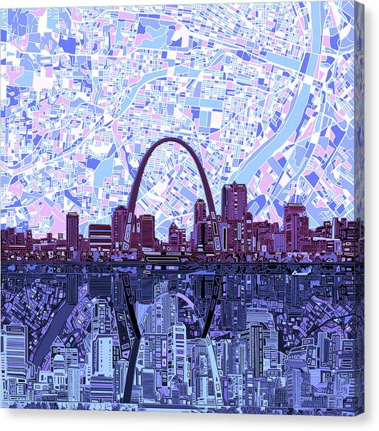 St. Louis Blues Canvas Print - St Louis Skyline Abstract 8 by Bekim Art