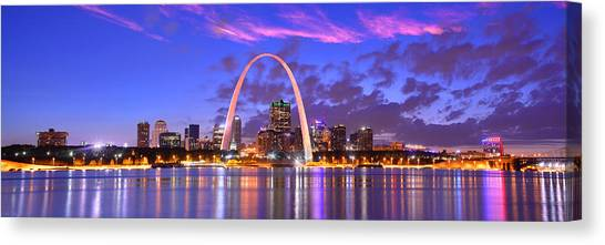 Mississippi River Canvas Print - St. Louis Skyline At Dusk Gateway Arch Color Panorama Missouri by Jon Holiday
