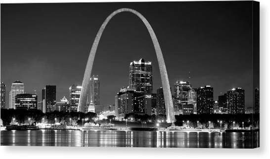 Mississippi River Canvas Print - St. Louis Skyline At Night Gateway Arch Black And White Bw Panorama Missouri by Jon Holiday