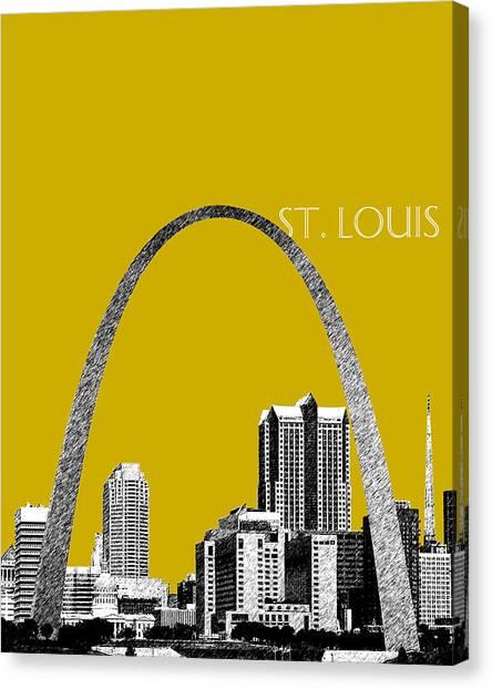 Pen Canvas Print - St Louis Skyline Gateway Arch - Gold by DB Artist