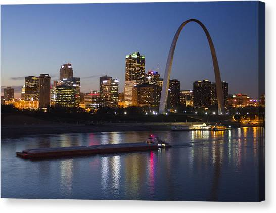 St Louis Skyline With Barges Canvas Print
