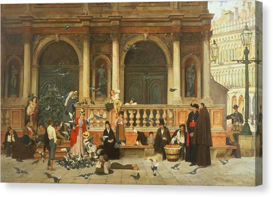 Pigeons Canvas Print - St. Marks, Venice by Adolf Echtler