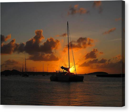 St. Martin Sunset Canvas Print by Randolph Fritz