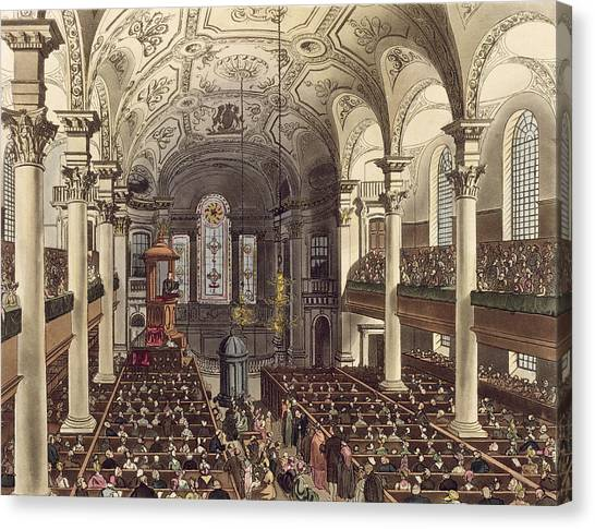 Baroque Canvas Print - St Martins In The Fields by T. & Pugin, A.C. Rowlandson