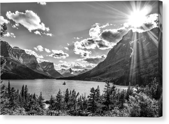 St. Mary Lake Bw Canvas Print
