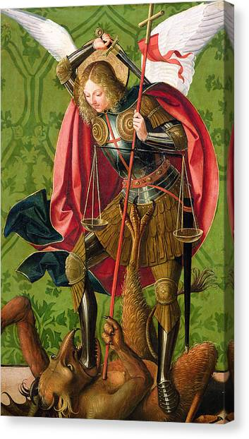 Archangel Canvas Print - St. Michael Killing The Dragon  by Josse Lieferinxe