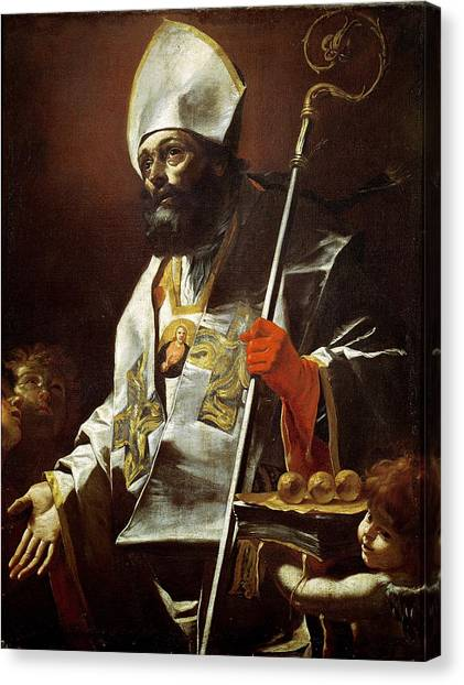 Bishops Canvas Print - St. Nicholas Of Bari D.c.346 Oil On Canvas by Mattia Preti