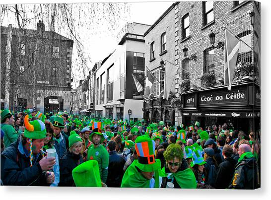 St. Patricks Day Canvas Print - St. Patrick's Day In Temple Bar Dublin by Stephen Browne