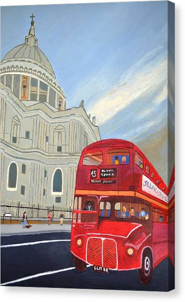 St. Paul Cathedral And London Bus Canvas Print