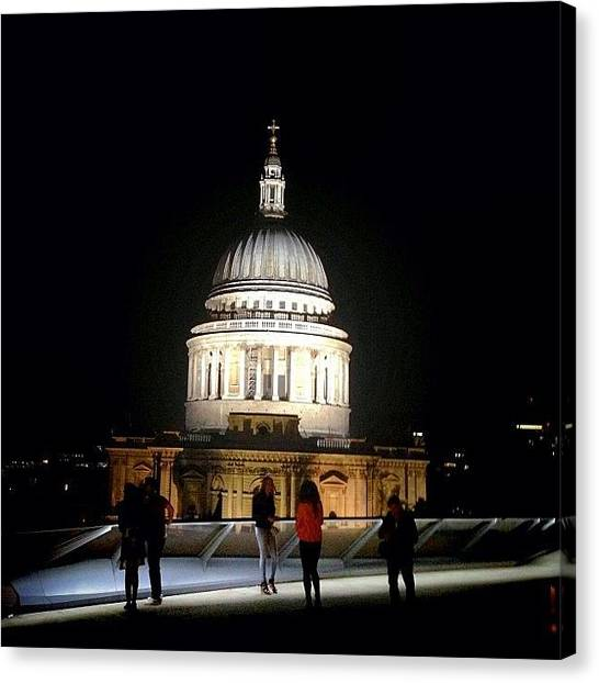 Romanesque Art Canvas Print - St Paul's Cathedral From Madison's by Luis Aviles