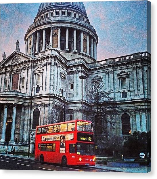 Wrens Canvas Print - St Paul's St Paul's. #red #bus #wren by Alex Nisbett