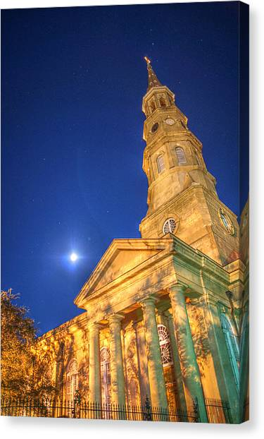 St. Phillip's At Night With Moon And Stars Canvas Print