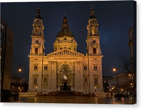 Neoclassical Art Canvas Print - St Stephen's Basilica Budapest Night by Joan Carroll