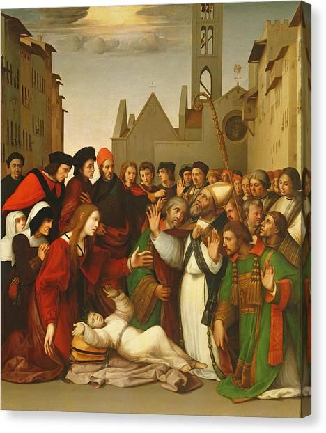 Nuns Canvas Print - St. Zenobius Raising A Boy From The Dead Oil On Canvas by Ridolfo Ghirlandaio