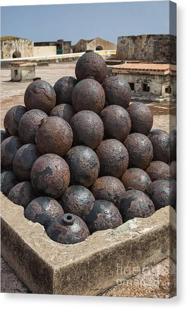 Stack Of Cannon Balls At Castillo San Felipe Del Morro Canvas Print
