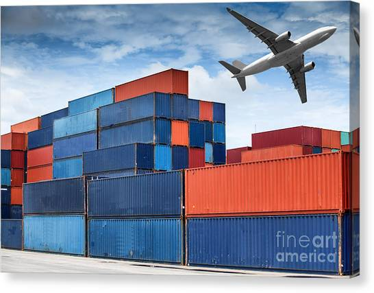 Stack Of Cargo Containers  Canvas Print