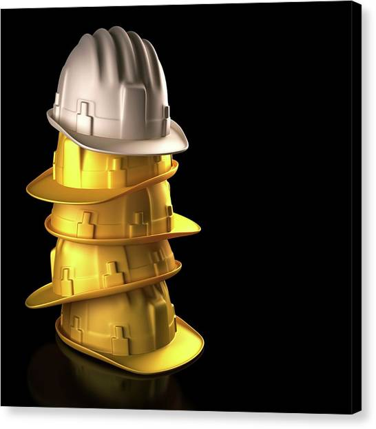 Hard Hat Canvas Print - Stack Of Hard Hats by Ktsdesign