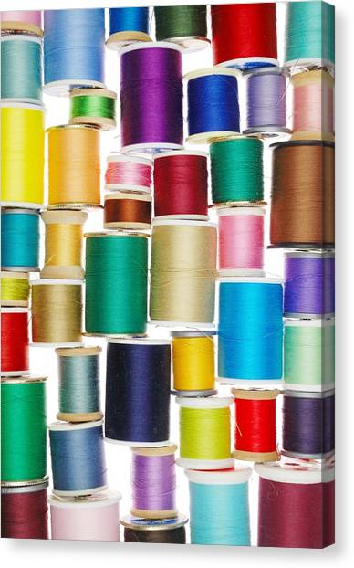 Sewing Machines Canvas Print - Spools Of Thread by Jim Hughes