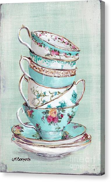 Vintage Canvas Print - Stacked Aqua Themed Tea Cups by Gail McCormack