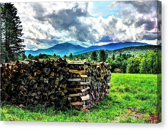 Stacked Firewood Canvas Print